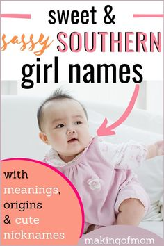 Looking for a Southern Baby Girl name for your newborn? Here's a great list of unique and adorable baby girl names with a Southern twist! Sassy Girl Names, Baby Gurl Names, Southern Baby Girl Names, Baby Girl Names List, Baby Girl Names Uncommon, List Of Girls Names, Baby Girl Names Unique, Girl Names With Meaning, Cute Baby Names