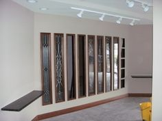 Here is a display which demonstrates the glass available for our doors and sidelights.