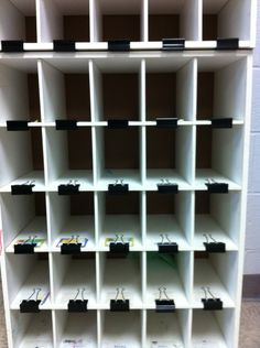 Using shoe organizers for Kindergarten mailboxes and jumbo binder clips for name labels. www.kpoindexter.wordpress.com