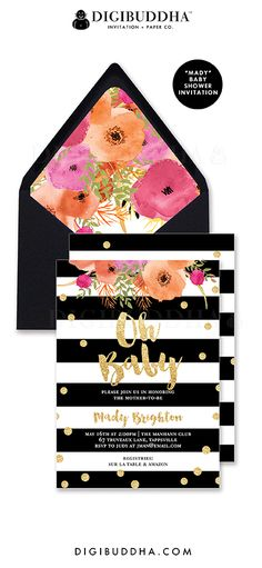 "Oh Baby! Black and white stripe ""Mady"" baby shower invitation with gold glitter confetti dots and brush lettered calligraphy. Watercolor flowers, original modern design for a girl baby shower. Coordinating envelope liner and black envelopes also available. Celebrate life, love, and babies! Digibuddha Invitation + Paper Co."
