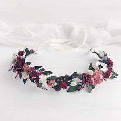 Burgundy Flower crown, Bridal crown, Deep red wedding crown, Burgundy floral crown, Burgundy headpie You are in the right place about beauty tips for Flower Crown Bride, Floral Crown Wedding, Bride Flowers, Rustic Flowers, Bridal Crown, Flowers In Hair, Wedding Flowers, Wedding Colors, Wedding Bouquets