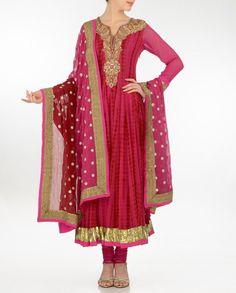 Magenta Anarkali Style Suit - Buy Aneesh Agarwaal* Online | Exclusively.in Shop Online | Indian Bridal Wear | Wedding Wear