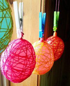 trådbollar_ballonger_virkgarn Easter Art, Easter Crafts, Easter Eggs, Diy And Crafts, Crafts For Kids, Spring Animals, Egg Decorating, Christmas Bulbs, Holiday Decor