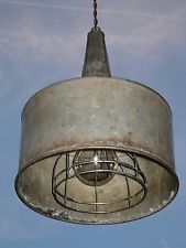 Vintage Steampunk Upcycled Hanging Galvanized FUNNEL Swag Lamp Light Fixture