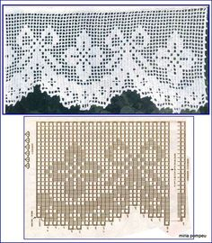 This Pin was discovered by Ays Crochet Edging Patterns, Filet Crochet Charts, Crochet Lace Edging, Crochet Borders, Doily Patterns, Crochet Doilies, Crochet Flowers, Embroidery Patterns, Crochet Cord
