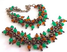 Glass Bead Cluster Necklace Bracelet Set Green by RenaissanceFair