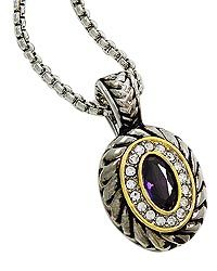 """18"""" + EXT Amethyst Zirconia & Clear Rhinestone Pendant Necklace Retail - $33.25 You Pay - $16.63 w/ free shipping in the US."""