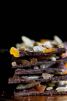 Dark Chocolate Bark with Ginger, Pumpkin Seeds and Apricots | A Holiday Brunch Party