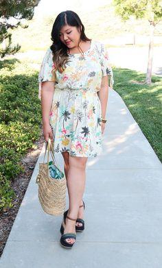 Corey Trista Dress in Jungle Floral Print on Gwynnie Bee member @curvygirlchic