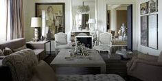 Living room: opulent chandelier, elegant cream and nude coloured furniture, white walls, portrait painting Decor, Interior, Home Decor, House Interior, Mirror Decor, Interior Design, Furnishings, Living Decor, Home And Living
