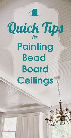 Ok, I'm going to try and make this a quickie post.  I've got crown molding to paint, but I was very surprised at how well painting the bead board ceiling went. I'm pretty certain it's because I had the right tools. After watching my dear husband deal with aches and pains after painting the bead …