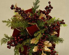 Linterna de Navidad botín con Holly oro