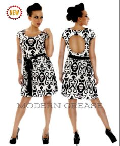 Endangered Black and White Skull Damask Dress by Folter from their New Extinct Collection. available at Modern Grease Clothing and Accessories Co.