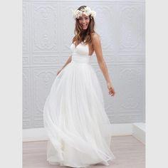 Boho Wedding Dresses 2017 Robe De Marriage Sweep Train White Tulle Wedding Bridal Gowns Spaghetti Strap Beach vestido de noiva