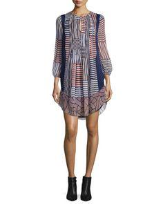 TCGH4 Diane von Furstenberg Kailyn Woven Collage Silk Shift Dress