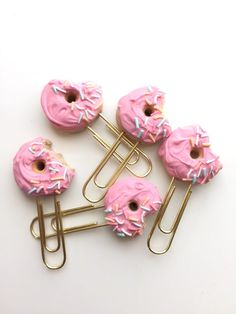 Pink Donut with Pastel Sprinkles  Planner Clip  by Olivescrest