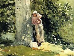 Winslow Homer – Weary, 1878 - Terra Museum of American Art (USA) - watercolor Watercolor Portraits, Watercolor And Ink, Watercolor Paintings, Watercolours, Winslow Homer Paintings, Arte Country, Art Institute Of Chicago, Illustrations, Whistler