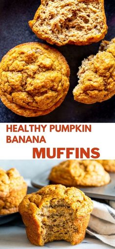 These Healthy Pumpkin Banana Muffins are a tasty snack for toddlers, kids and adults. Everyone will love the warm pumpkin flavors. These Pumpkin muffins are naturally sweetened and made with whole wheat flour, so they are as healthy as they are delicious! Pastry Recipes, Meal Recipes, Brunch Recipes, Baby Food Recipes, Yummy Recipes, Yummy Food, Sweet Breakfast, Breakfast Time, Breakfast Ideas