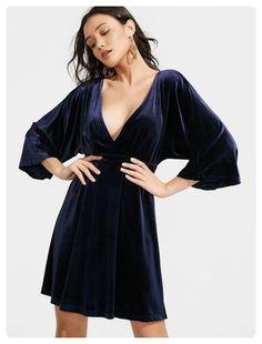 Crushed Velvet Kimono Sleeve Dress (Purplish blue)