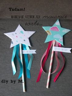 Baguette de fee, tuto et printable! Nice fairy Wang tutorial et printable! Diy … Wand of fairy, tutorial and printable! Diy Crafts For Kids, Arts And Crafts, Paper Crafts, Diy Niños Manualidades, Diy Wand, Fairy Wands, Kids And Parenting, Activities For Kids, Projects To Try