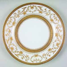 """Gold """"Dynasty"""" china pattern with golden trim & ornate scroll accents from Chas Field Haviland."""