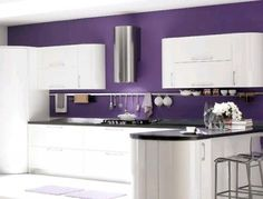 Might Be More Cost Efficient To Just Paint The Wall Instead Of Changing Out Cabinets Murs Violetspurple Kitchen Designspurple