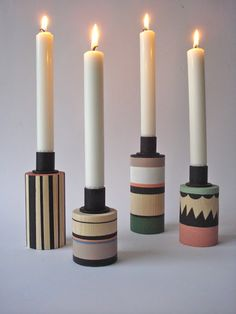 f r a l e i s e candlesticks - leise dich abrahamsen Diy Candles, Scented Candles, Chandeliers, Pretty Things, Wood Turning, Own Home, Candlesticks, Candle Holders, Creations