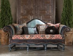 Paul Robert HACIENDA Wood Frame Sofa with blue croc embossed leather