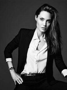 Angelina Jolie in Saint Laurent by Hedi Slimane for Elle US June 2014
