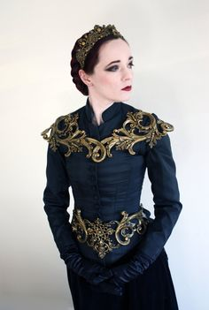 Gold Filigree Metallic Rubber Latex Ornate Collar Shoulder | Etsy Mode Steampunk, Design Textile, Shoulder Armor, Natural Rubber Latex, Fantasy Dress, Gold Filigree, Character Outfits, Baroque, Creations