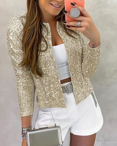 Long Sleeve Open Front Sequin Coat - - Style:Fashion Pattern Type:Sequins Material:Polyester Neckline:Open Front Sleeve Style:Long Sleeve Length:Regular Occasion:Casual Package Note: There might be difference accordin… Source by Sequin Coats, Sequin Jacket, Trend Fashion, Look Fashion, Fashion Beauty, Cheap Fashion, Fashion Styles, Retro Fashion, Fashion Women