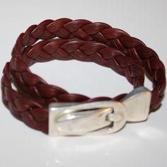 Bracelet en cuir tressé double tour, boucle aimantée