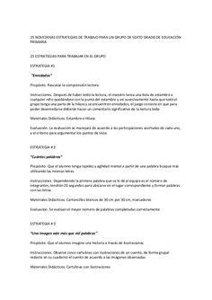25 NOVEDOSAS ESTRATEGIAS DE TRABAJO PARA UN GRUPO DE SEXTO GRADO DE EDUCACIÓN PRIMARIA  25 ESTRATEGIAS PARA TRABAJAR EN EL...
