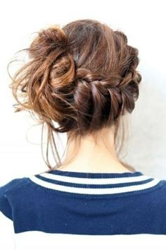 Messy braid updo mine would be messier since I have curly hair. Would put drinking the stars comb above braid and to the side of bun.