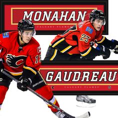 Flames Dynamic Duo - Monahan & Gaudreau • get your framed signature Jersey Name Print from NHLTrunk.com Hockey Teams, Calgary, Awesome, Sports, Hs Sports, Sport, Exercise