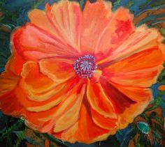 Single Orange Poppy by brushnpalette on Etsy, $350.00