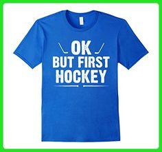Mens Ok But First Hockey - Funny Hockey Shirts Small Royal Blue - Sports shirts (*Amazon Partner-Link)