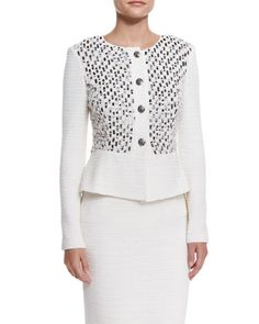 Bella+Knit+Sequin+Peplum+Jacket,+Cream+Multi+by+St.+John+Collection+at+Neiman+Marcus.