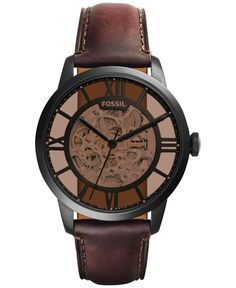 Fossil Men's Automatic Townsman Dark Brown Leather Strap Watch 44mm ME3098