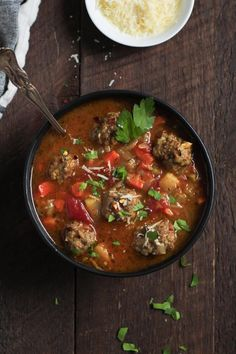This Healthy Meatball Vegetable Soup is full of veggies and protein. Its super easy to make very satisfying and gluten-free. Perfect comfort food for a crisp Fall lunch or cozy Winter night. Kitchen Recipes, Cooking Recipes, Healthy Meatballs, Cheesy Potato Soup, Sweet Potato, Healthy Soup Recipes, Delicious Recipes, Vegan Recipes, Yummy Food