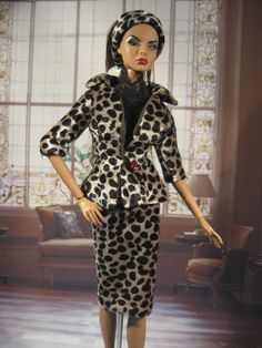 Leopard Print Velvet Suit, modern classic style for 1/6th scale fashion dolls.