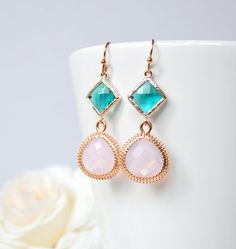 Soft pink bridesmaid earrings aqua dangle by ArtemisBridalJewelry