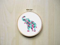 Baby Elephant Silhouette Geometric Modern Counted Cross Stitch Pattern | Instant PDF Download by RhiannonsCrossStitch on Etsy https://www.etsy.com/listing/268868398/baby-elephant-silhouette-geometric