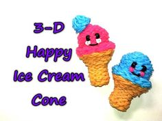 3-D Happy Ice Cream Cone Tutorial by feelinspiffy (Rainbow Loom) - YouTube
