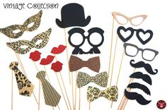 Vintage Photo Booth Props - 20 piece set - Birthdays, Weddings, Parties - Photobooth Props