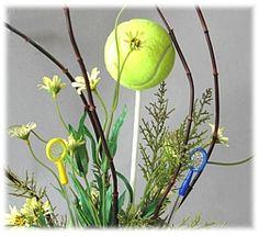 Tennis Party Ideas on Sports Party World Tennis ballon a dowel rod - use a corkscrew to make the hole Tennis Decorations, Party Table Decorations, Party Centerpieces, Party Themes, Party Ideas, Tennis Party, Sports Party, Tennis Crafts, Birthday Party Treats