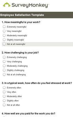 Sample Employee Satisfaction Surveys Survey And Templates Job Questionnaire