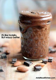 How to make Homemade Dark Chocolate Almond Butter. Recipe at ambitiouskitchen.com