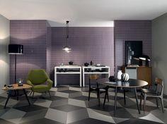 Glazed white bodied porous single-fired tiles mauve - coveiring with Kensington collection, floor with Slimtech Mauk Cuadra - Lea Ceramiche