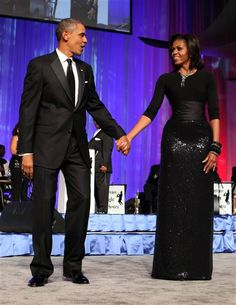 Michelle Obama looking stunning - Michael Kors sequin skirt and Peter Soronen corset belt